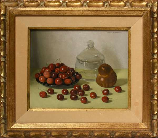 """20th C. oil on artist board, cherries on table top, signed Jacques Blanchard (French 1916-1992) 8.75"""" X 10.5"""" Condition: slight rubbing on image in lower edge"""