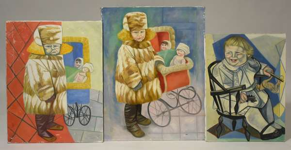 """Three Dorothy Humphrey (MA, 1916-2003) oils, children sitting, pushing prams, etc. unframed, initialed DH, 31"""" x 24"""" to 25"""" x 18"""". Condition unframed, overall good."""