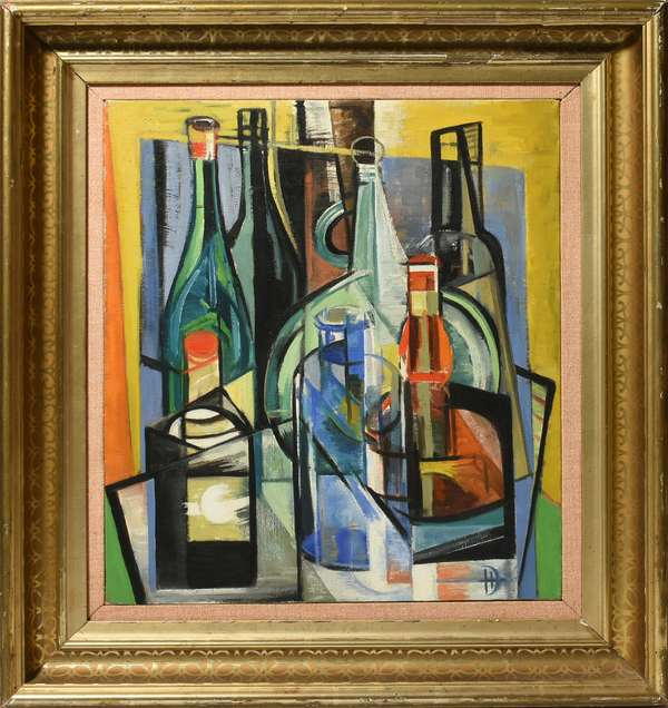 """Dorothy Humphrey (MA,1916-2003) oil on canvas, cubist scene with bottles, initialed DH lower right, 20"""" x 18"""" stretcher ,25"""" x 23.5"""" overall. Condition: good."""