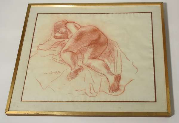 """Moses Soyer sanguine sketch, reclining nude, singed center left. 19.5"""" x 27"""" paper, 25"""" x 30"""" frame. Condition: some wrinkling to edge of paper."""