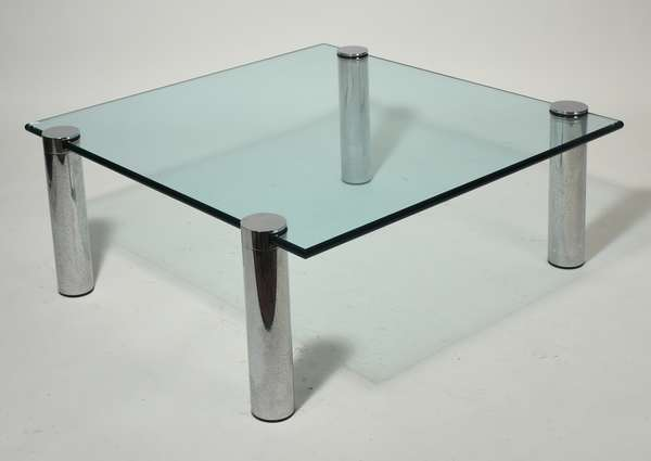 """Mid-Century chrome and glass coffee table, in the manner of Karl Springer, with four tubular chrome legs, 7/8"""" plate glass top, 35.5""""L x 35.5""""W x 16""""H. Condition: surface abrasions."""