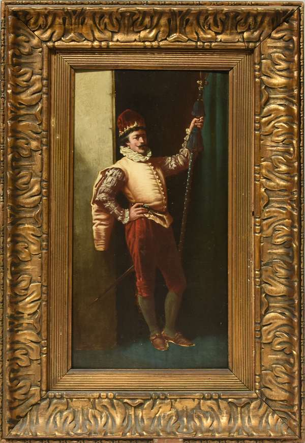 """Fine 19th C. oil on wood board, cavalier with staff, in gilded frame. Board 16"""" x 8.75"""", frame 22"""" x 15"""". Condition: panel slightly warped. No apparent inpainting under blacklight, tho displays greenish tinge."""