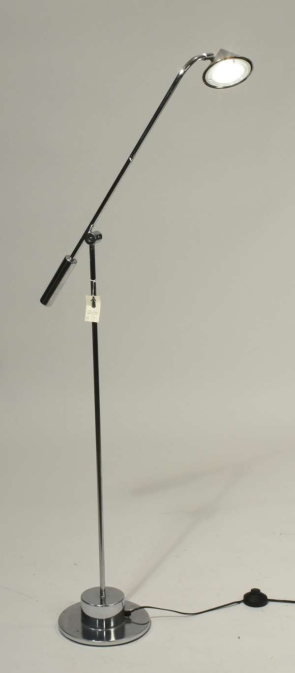 """Designer chrome adjustable height floor lamp, 39""""H adjustable. Condition: overall good, some scratches."""