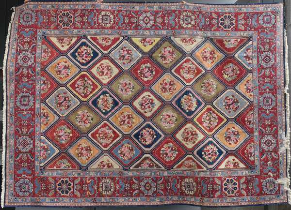 """Oriental room size Kilim with floral medallions, bright colorful palette, 11'10"""" x 8'9"""". Condition: edge with hole, 6"""", fraying on edge, Minor fading"""