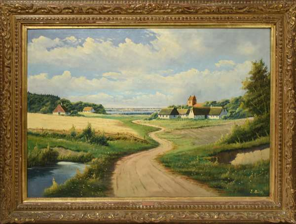 """E. Birk (Dutch, b. 1931) oil on canvas, landscape with winding road, signed lower right. Stretcher 26.5"""" x 37.5"""", overall 35"""" x 46"""". Condition: canvas loose on stretcher."""
