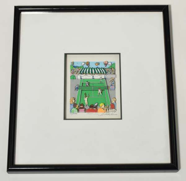 """Charles Fazzino, 3-D composition lithograph """"Tennis Love"""", numbered 311/475, pencil signed, image 5"""" x 6"""", overall 18"""" x 16"""". Condition: good."""