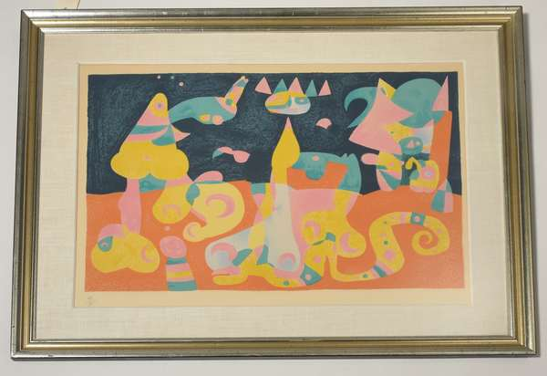 """Colorful modern serigraph, abstract design, numbered 24/75, unsigned, 18"""" x 25.5"""" image. Condition: not examined out of frame. Appears good."""