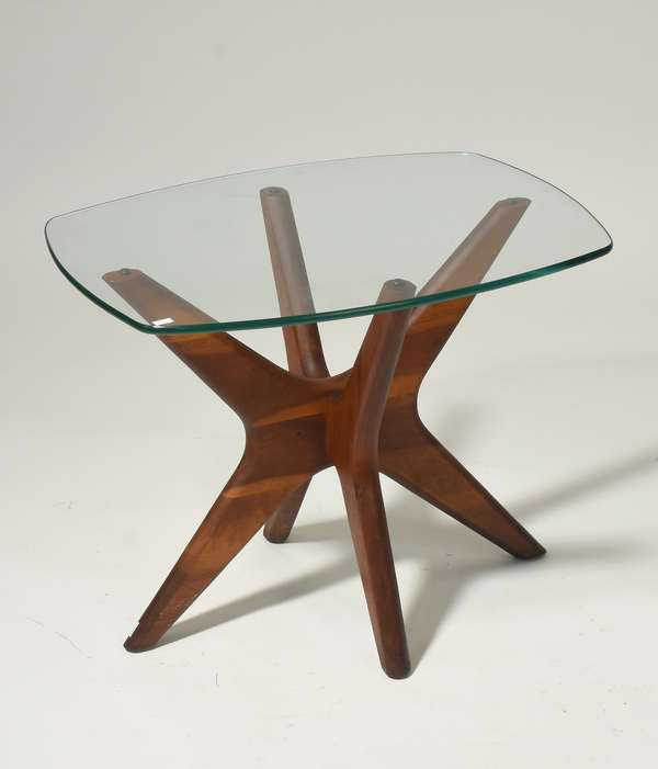 """Adrian Pearsall """"Jacks"""" walnut end table with glass top, 23.5"""" x 19.5"""" x 19.25"""". Condition: some scuffing, overall good."""
