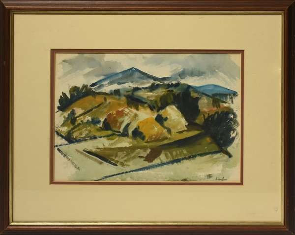 """Eugene Leake (MD, 1911-2005) watercolor of mountainous landscape, 10"""" x 16"""", signed lower right. Condition: very good, not examined out of frame."""