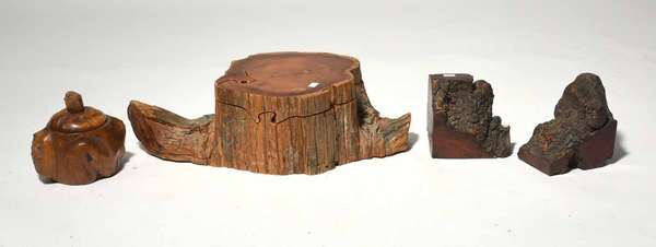 """Good lot of Artisan wood objects including large red cedar puzzle jewelry box branded Richard Rothbard along with covered burl humidor and pair of burl bookend, puzzle box 17"""" L, humidor 5.5"""" H and bookends, 5.5"""" H — condition: good, some surface abrasion and minor chipping"""