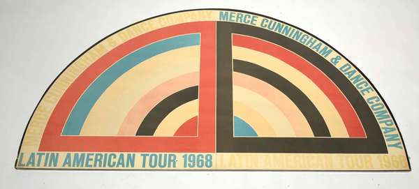 """Vintage poster, """"Latin American Tour 1968"""" designed by Frank Stella, 48"""" x 27"""" Condition: toning to paper, fading, small rip by bottom title, some minor creasing"""