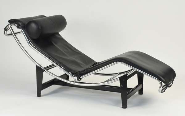 Le Corbusier LC-4 style lounge, black leather on chrome frame and steel base Condition: minor scratches and signs of use