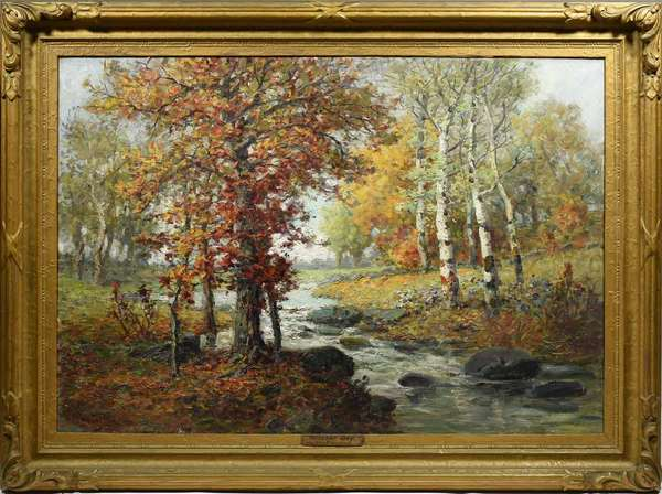 "Francis VanVreeland (1879-1954, Nebraska) oil on canvas titled ''October Day'' depicting an autumn landscape with stream in a period gilt frame. Image 28"" x 40"", overall 37"" x 48"". Condition: very good"