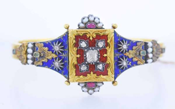 Victorian gold, Diamond, Ruby, Emerald, Pearl and enamel bracelet, approx. .75 ct. tw. rose and old square cut diamonds, 1 1/4 in. wide, 6 1/2 inch, tested 14k or higher yellow gold, 27.6 grams. Condition; some slight enamel wear, safety chain pin loose, hinge and clasp work well. New bidders to Smith's - payment for this lot must be made with cash, bank approved  check or wire transfer.