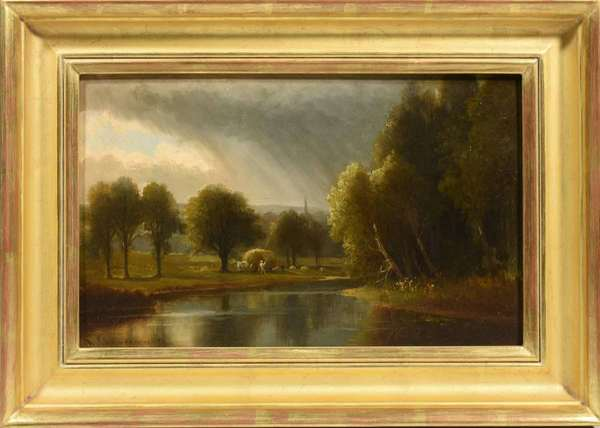 """Benjamin Champney (American, 1817-1907) oil on board, Haying by a Stream, 1875. Image 10""""H. x 16""""W., frame 15""""H. x 20.5"""".  Condition: Good, contemporary gilt frame"""