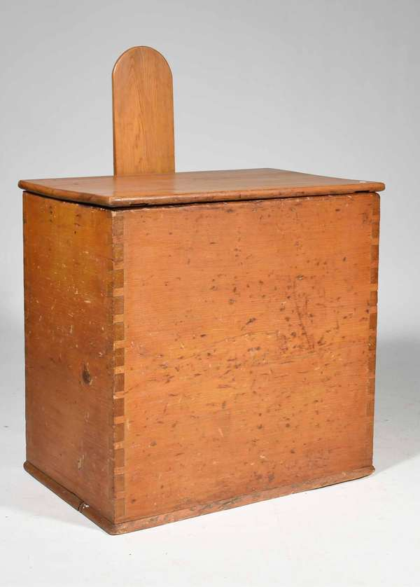 "19th C. Shaker wood box, a dovetailed pine case with lift top and arched back board to support the lid when up, resting on a slight molded edge base, old natural board finish, Prov. Reinhold/Tolman estate, 25"" H x 25"" W x 16""D, height to top of lid support 36"". Condition: structurally sound with no missing parts, edge wear as one would expect to underside of lid and interior."