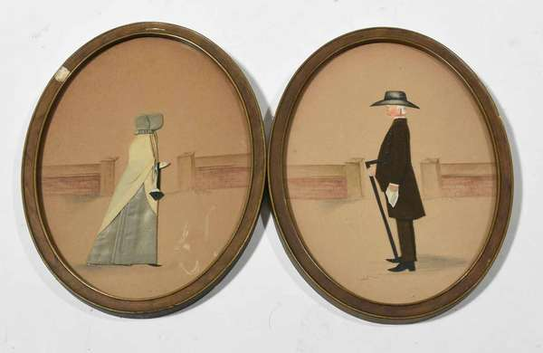 "Pair of late 19th C. profile portraits, signed R.P. Bye, depicting Quakers, pencil and ink background with appliqué fabric outfits, on paper. Image size 8"" x 6"", framed 8.75"" x 6.5"".  Condition: toning throughout paper, fabric in good condition, some light blemishes"