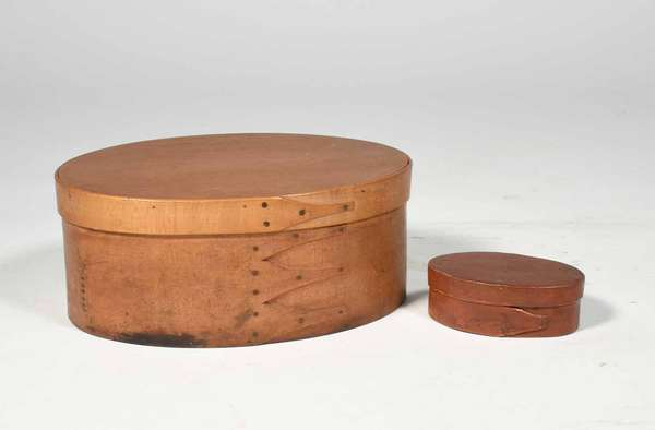 """19th C. oval finger box in natural stain 9""""L x 4""""H x 6"""" D, great make due tack repairs, and a small 19th C. finger box in red paint 3.75"""" L x 2.5"""" D x 1.25""""H. Prov. Reinhold/Tolman estate. Condition:  wear commensurate with age."""