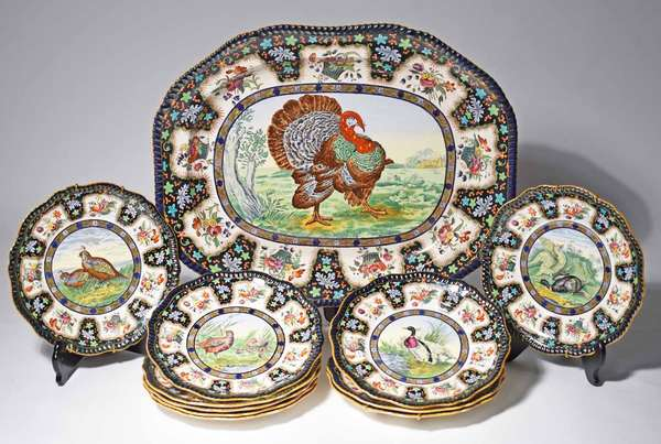 """11 pc. Copeland Spode game set, including large turkey platter, 22.75"""" x 18"""" and ten dinner plates, 10.5""""Dia. plates numbered 1-11 missing number 9. Condition: very good, no chips or cracks, some discoloring, platter with 2 minor knife marks, missing plat #9"""