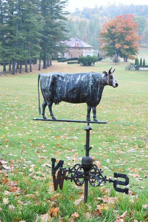 """Fine late 19th C. cow weathervane, directly off the Vilas family barn in Alstead NH, ca. 1880,  likely a Harris cow Boston MA., full bodied copper with cast iron head 27""""L x 19""""H, and original directionals. Condition: cow- generally very good, old weathered finish, no missing or damaged parts, one letter of direction is unattached, however present."""