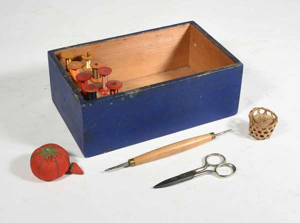 "Blue painted Shaker sewing box (nailed construction) with 8 spools, 2 pin cushions, hook and shears. Box measures 10""L x 6""D x 4"" H. Condition: overall good, spools vary in age."