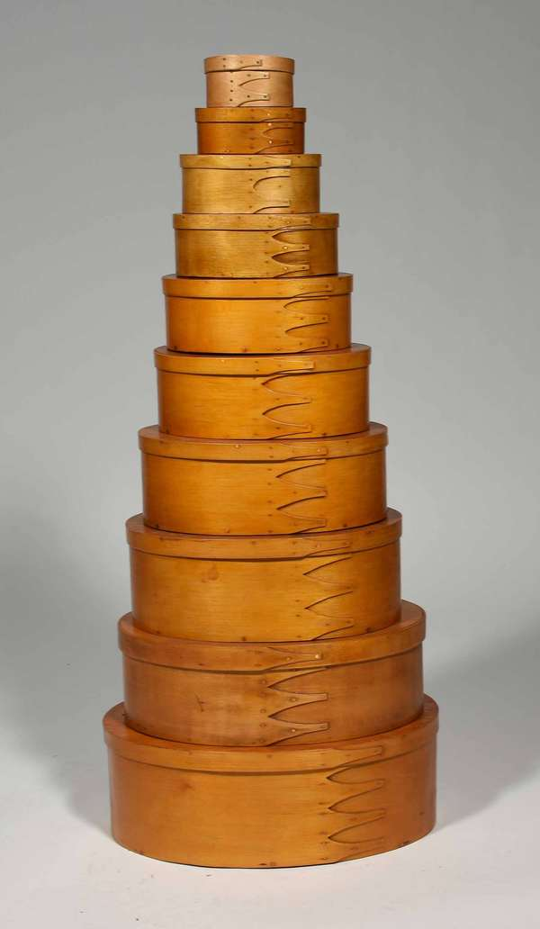 "Ten Nesting Shaker finger boxes reportedly made by George Robert,  10 graduated sizes from 3.75""L to 15""L.  Prov. Reinhold/Tolman estate. Condition: 4th one from bottom has a crack to lid."