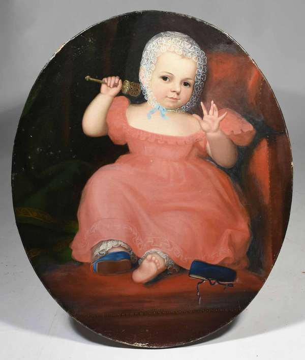 """19th C. American primitive portrait painting, oval of a young girl in a red dress with rattle, ca 1840's, oval stretchers 30""""H x 25""""W. Condition: lined, slight paint loss and abrasions on edges, cracquelure, some minor staining spots"""