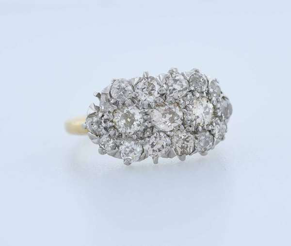 Diamond cluster ring set in 14kt white gold with platinum settings, approx. 1.20 ct.. Old European cut diamonds mostly I stones, (some chips), sz. 3, 3.6 grams.  New bidders to Smith's - payment for this lot must be made with cash, bank approved check or wire transfer. NO CREDIT CARDS accepted as payment for this lot.