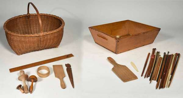 Shaker basket 18''L,  including - 10 wood knitting needles, 18''L ruler dated 1850,  pegs, 2 butter workers, darner and more. Prov. Reinhold/Tolman estate. Condition: varies.( 20, 22)