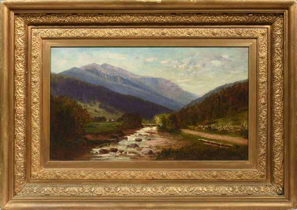 """Frank H. Shapleigh (American 1842-1906) oil on canvas. Signed Lower right """"F.E.Shapleigh"""", date not clearly legible (1876?), Mount Washington from Jackson, New Hampshire. VOSE gallery sticker on verso of period frame identifying the farm in the foreground as """"The Old Meserve Place"""" image 13.5""""H. x 23.5""""W. frame 24""""H. x 34""""W.  Condition: lined, good. Period frame with minor bumps and abrasions."""
