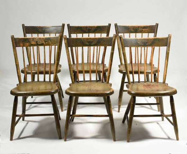 "Set of 6 PA. 19th C. paint decorated Windsor chairs, ca. 1830 in olive green paint with floral polychrome paint decoration. 18""seat H x 34""back H x 17"" W. 