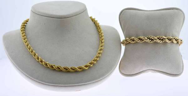 "Victorian 14K gold chain and bracelet, twisted rope design.  16""L. necklace 21 grams with. 7.5"" similar bracelet 15 grams, total weight 36 grams. Condition: good.  New bidders to Smith's - payment for this lot must be made with cash, bank approved check or wire transfer. NO CREDIT CARDS accepted as payment for this lot."