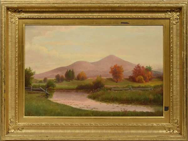 """E.T. Wilson oil on canvas. Kearsarge North from North Conway, New Hampshire. Signed """"E.T.Wilson"""" lower left. Image 16""""H. x 23.5""""W., overall 25.5""""H x 32""""W.  Condition: good, gilt frame with two small patches of gilt loss to inner frame and slight abrasions elsewhere."""