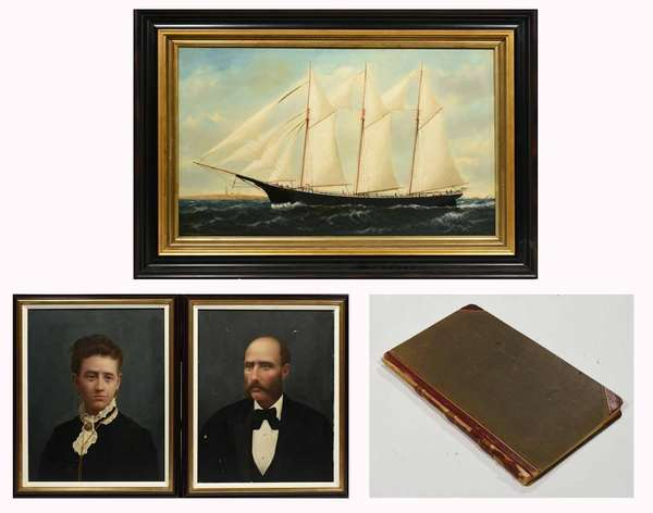 """William Stubbs, (ME/MA 1842-1909) oil on canvas portrait of the 3 masted schooner Maggie S. Hart, laid on board, signed lower left WP Stubbs,  22"""" x 36"""" in a later frame, along with portraits of the ship's Capt. Alden Carleton Chaney and his wife ca. 1886, 20"""" x 16"""", and the ships ledger. Condition: laid on masonite, small areas of in-paint in sails, portraits also laid on masonite with some paint loss."""