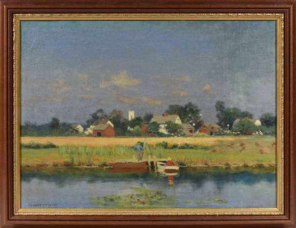 """William Merritt Post (American 1856-1935) oil on canvas. """"New Jersey Village"""" signed lower left, image 12"""" X 16"""", Provenance, this collection of works is from the Frank and Martha Reinhold collection purchased by them in 1937 from the Estate of Wm Merritt Post (West Morris Home). Condition: lined and re-stretched in a contemporary frame"""