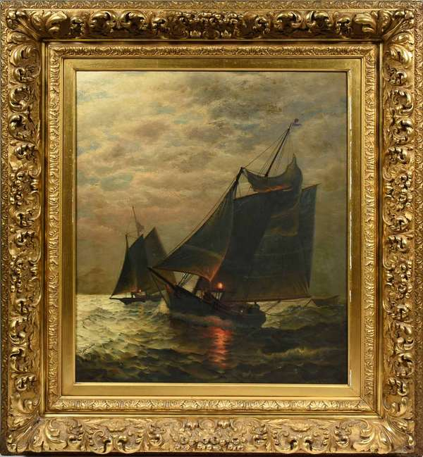 """James G. Tyler (American 1855-1931), oil on canvas, depicting sailing vessels at night with ocean glow, in a good period carved and gilt frame, Image size 30'' x 25'' overall size 43"""" x 38"""". Condition: original canvas, would benefit from a cleaning"""