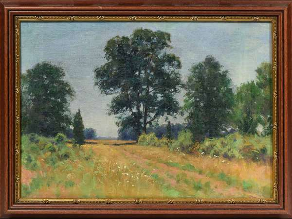 "Unsigned, Wm. M. Post oil on canvas, rural country road through a summer field, 10"" X 14"", Provenance, this collection of works is form the Frank and Martha Reinhold collection purchased by them in 1937 from the Estate of Wm Merritt Post (West Morris Home). Condition; lined and re-stretched, modern frame,"