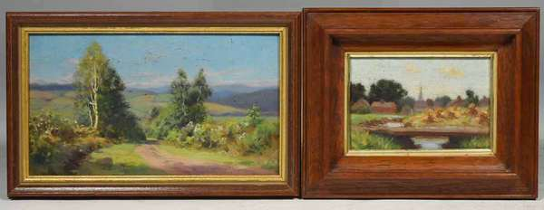"2 small Wm. M. Post, unsigned oil on boards: country road 5"" x 9"" and, view of a country town with church 3.5"" x 5"". Provenance, this collection of works is from the Frank and Martha Reinhold collection purchased by them in 1937 from the Estate of Wm. Merritt Post (West Morris Home). Condition: good"