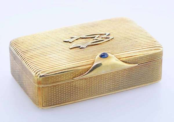 "14K Gold hinged box, marked 585 and dated 1926,  with a cabochon sapphire, 120 grams 1""H x 3""L x 2""D.  Condition: some light wear.  New bidders to Smith's - payment for this lot must be made with cash, bank approved check or wire transfer.  NO CREDIT CARDS accepted as payment for this lot."