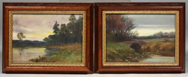 "2 small Wm. Merritt Post unsigned watercolor landscapes, 5"" x 7"". Provenance- this collection of works is form the Frank and Martha Reinhold collection purchased by them in 1937 from the Estate of Wm Merritt Post (West Morris Home). Condition: framed under glass, appear good."
