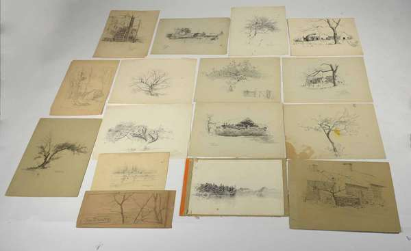 "17 Graphite sketches on paper, mostly Springfield NJ scenes in various sizes from 4"" x 6"" to 8.5"" x 11.5"", all unframed and in various states of completion, Provenance, this collection of works is from the Frank and Martha Reinhold collection purchased by them in 1937 from the Estate of Wm Merritt Post (West Morris Home). Condition: rubbed edge wear and loss"