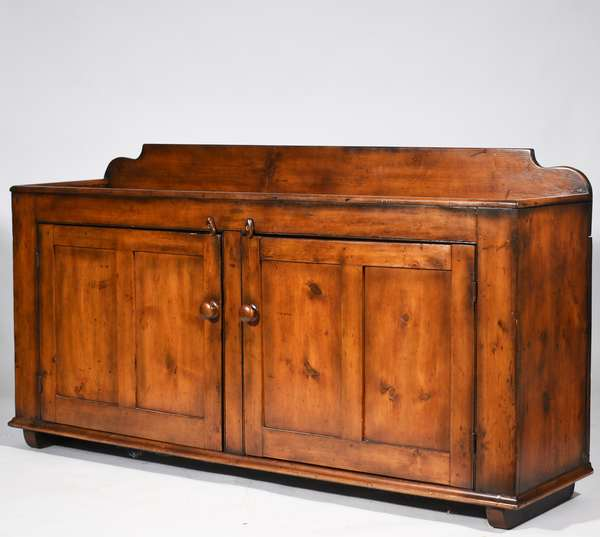 "19th C. PA extended length, double blind door, pine dry sink with older patina, and later added shoe feet  71.5"" x 37.5""H. x 17.5""D.  Condition: nicely refinished, structurally sound, but is old and has shrinkage from age and use, shoe feet added later"