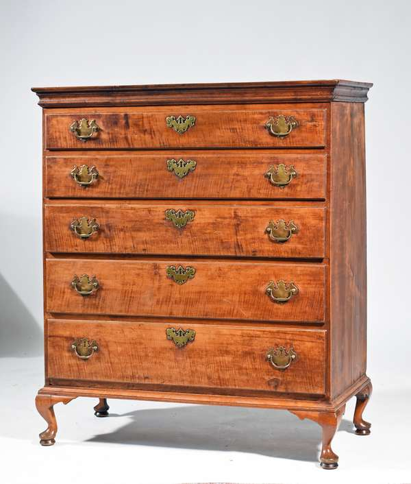 "18th C. Queen Anne NH form tiger maple chest,  5 graduated drawers on bandy legs in the style of the Bartlett workshop, 44.5""H x 37""W x 18""D. Condition: older finish replaced brasses, shrinkage to top molding causing some separation."