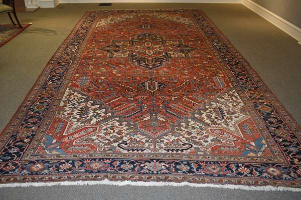 Old Oriental rug, Heriz, bold and bright colors in hard to find size, 10' X 20'4