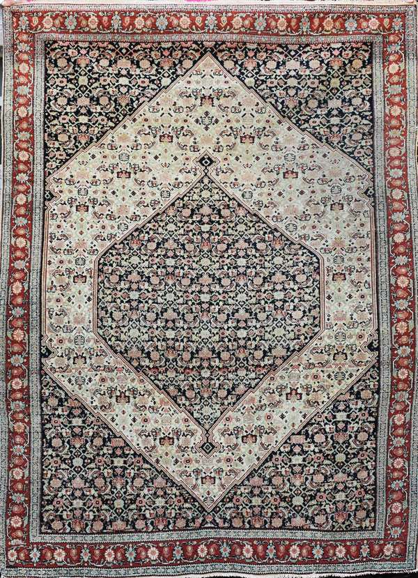 """Finely woven old Oriental prayer rug, 4'1"""" X 5'9"""". Condition: some color fading, minor edge fraying"""