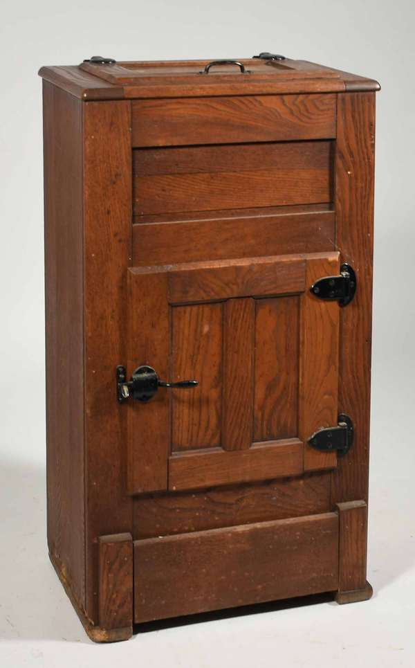 """Sweet small size Victorian oak ice chest, 36"""" H X 19"""" W X 13"""" D -Condition: some surface abrasions and minor water staining, overall original and good condition"""
