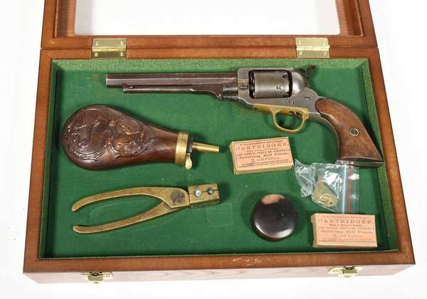 """Eli Whitney Civil War era revolver with 5 5/16"""" octagonal barrel stamped E. Whitney N. Haven, serial # 27353, sold with accessories and nice display case -  approx. 10.5"""" overall length - Condition: cleaned surface"""