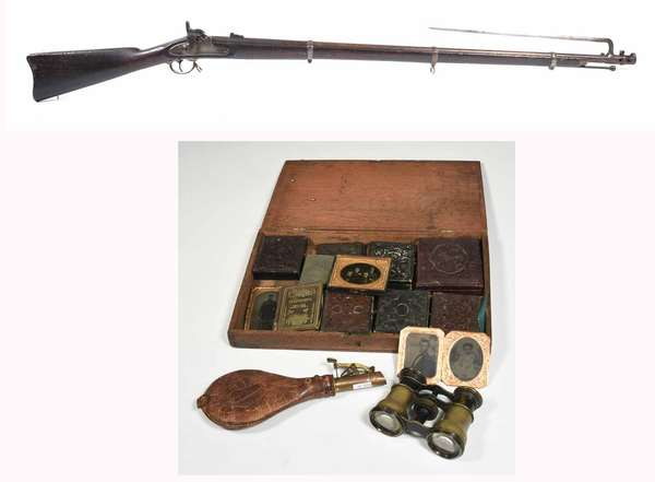 """L.G.&Y. Windsor, VT. US 1863 rifle complete with bayonet, belonging to Civil War soldier Leander Whitney of Tunbridge, VT. Company D 12th Reg. VT. volunteer. Sold with daguerreotypes, walnut box with name tag, shot flask & binoculars - 55"""" overall gun length. -Condition: gun shows signs of wear and use appropriate for age, hammer and trigger function well, overall pleasing patina and good condition"""