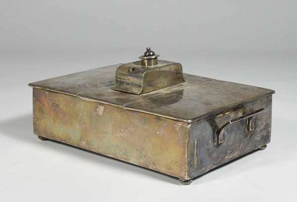 """Nice antique hallmarked English sterling humidor with lined interior, 11"""" X 6.5"""" X 5"""" monogrammed and inscribed with """"Cigarettes"""" and opposing side """"Cigars"""". -Condition: overall good with some tarnishing, Damage to top of finial,"""