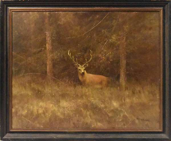 """Oil on canvas, autumn landscape with a trophy buck at high alert, signed Pieter Dik, 31.5"""" X 39.5"""" canvas size, signed on front and back with inscriptions. -Condition: original and uncleared surface overall good"""